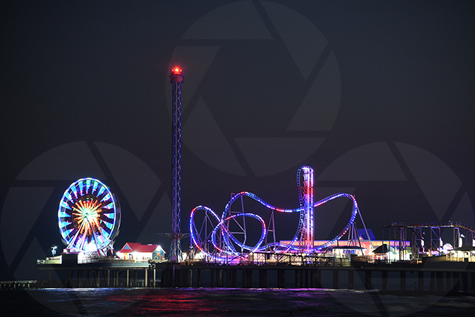Galveston's Pleasure Pier at Night