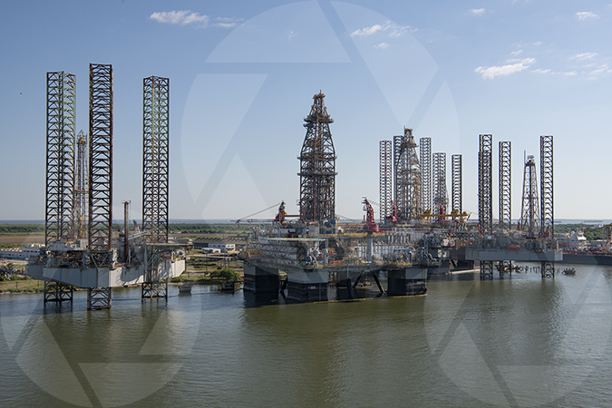 Offshore Oil Rigs Parked at the Port of Galveston
