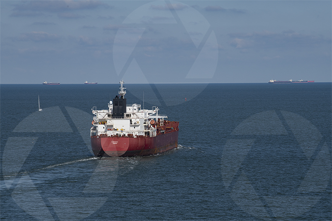 Picture of a merchant ship heading into the Gulf of Mexico