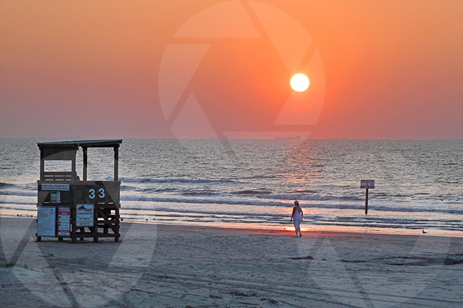 Photo of a sunrise over Galveston Beach, Texas