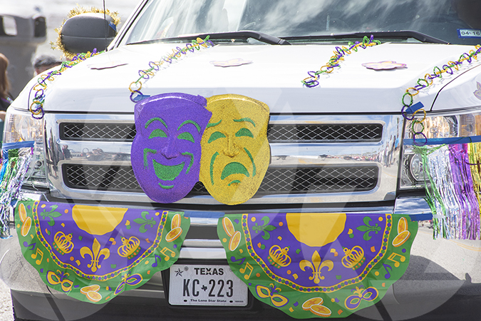 Galveston Mardi Gras image of a parade truck