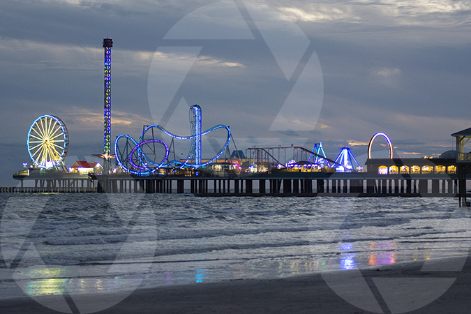Pleasure Pier on Galveston Beach just after sunset